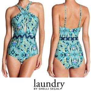 Laundry By Shelli Segal Twist Printed One-Piece